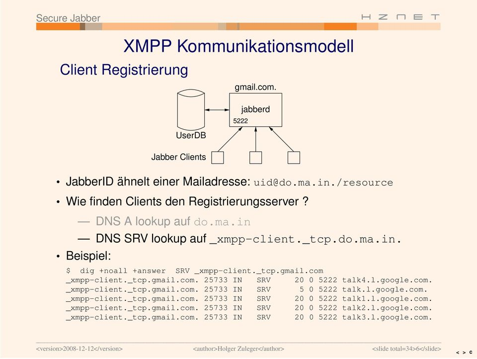 l.google.com. _xmpp-client._tcp.gmail.com. 25733 IN SRV 5 0 5222 talk.l.google.com. _xmpp-client._tcp.gmail.com. 25733 IN SRV 20 0 5222 talk1.l.google.com. _xmpp-client._tcp.gmail.com. 25733 IN SRV 20 0 5222 talk2.