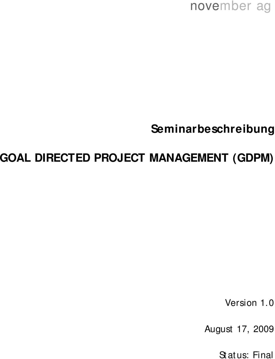 MANAGEMENT (GDPM) Version