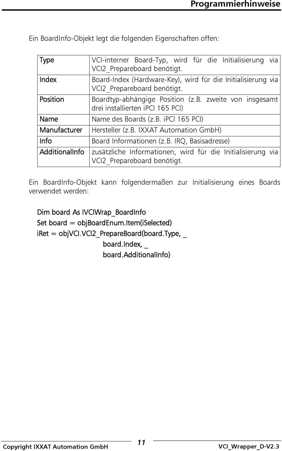 b. ipci 165 PCI) Manufacturer Hersteller (z.b. IXXAT Automation GmbH) Info Board Informationen (z.b. IRQ, Basisadresse) AdditionalInfo zusätzliche Informationen, wird für die Initialisierung via VCI2_Prepareboard benötigt.