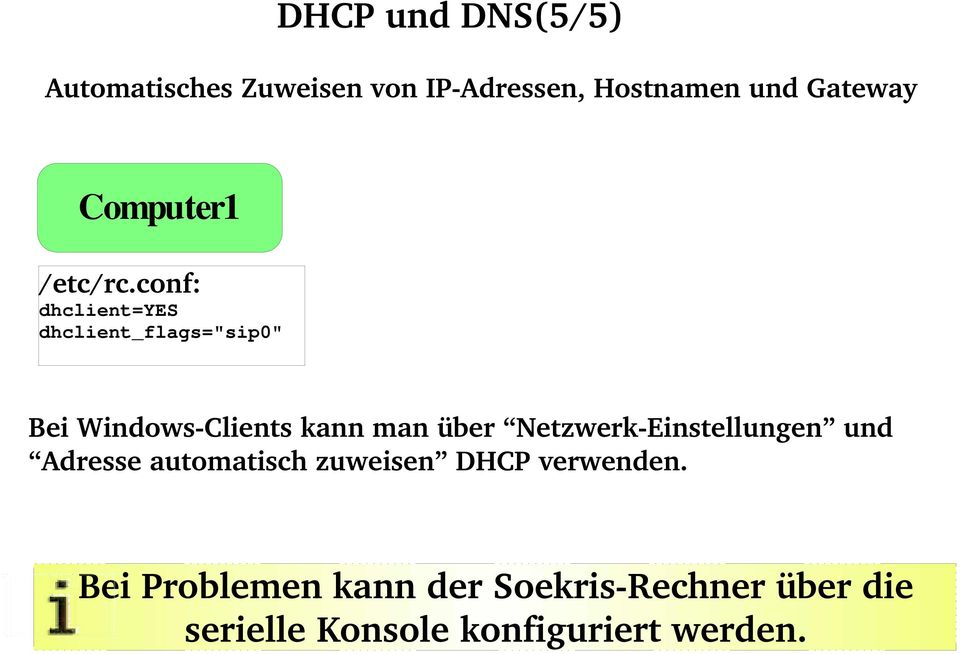 "conf: dhclient=yes dhclient_flags=""sip0"" Bei Windows Clients kann man über"