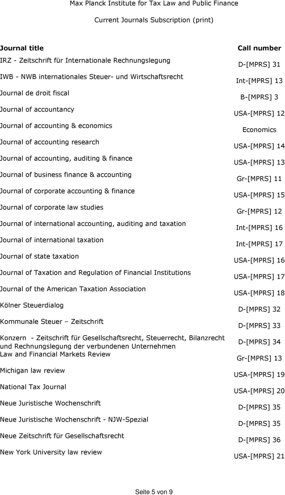 international accounting, auditing and taxation Journal of international taxation Journal of state taxation Journal of Taxation and Regulation of Financial Institutions Journal of the American