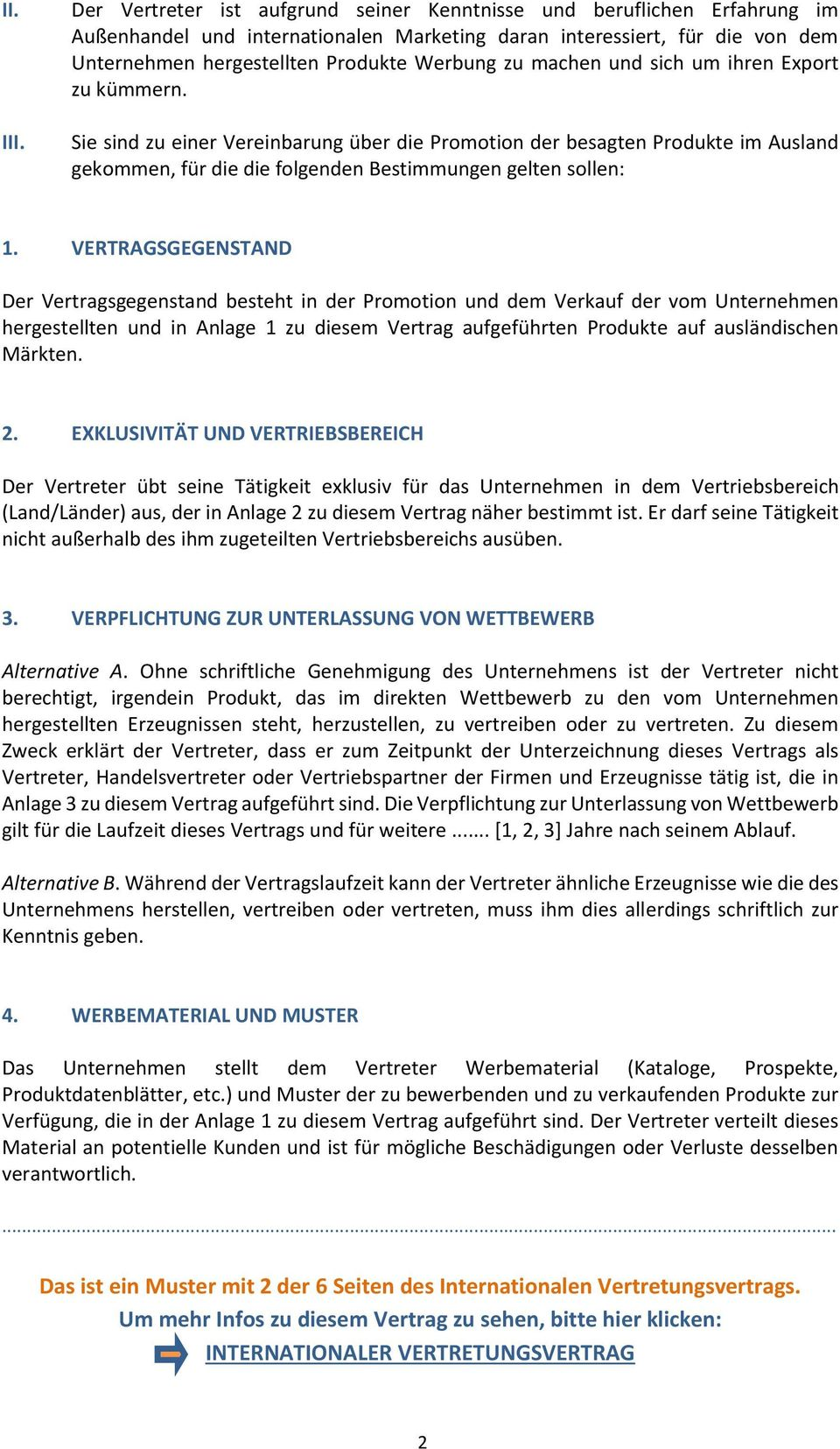 INTERNATIONALER VERTRETUNGSVERTRAG MUSTER - PDF