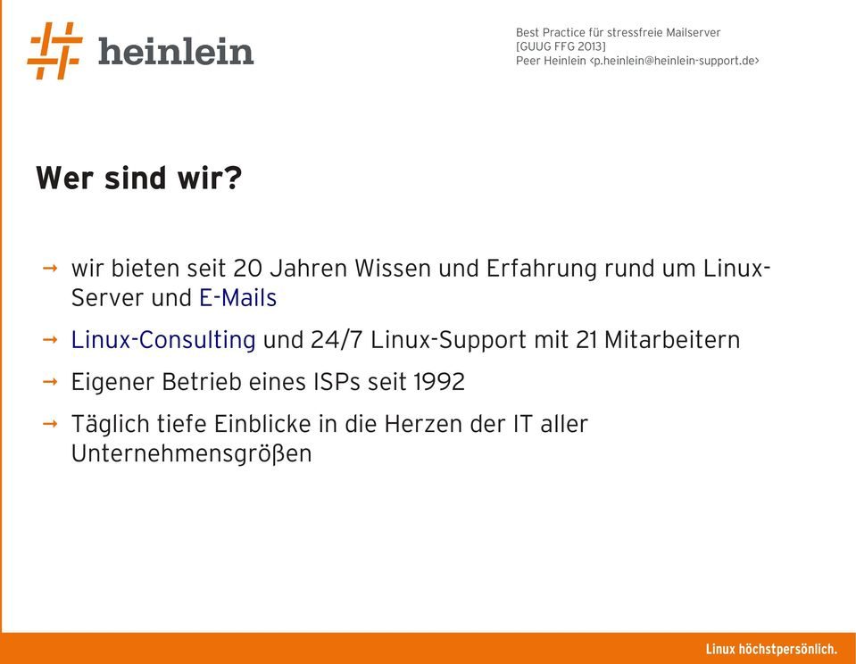 LinuxServer und E-Mails Linux-Consulting und 24/7 Linux-Support