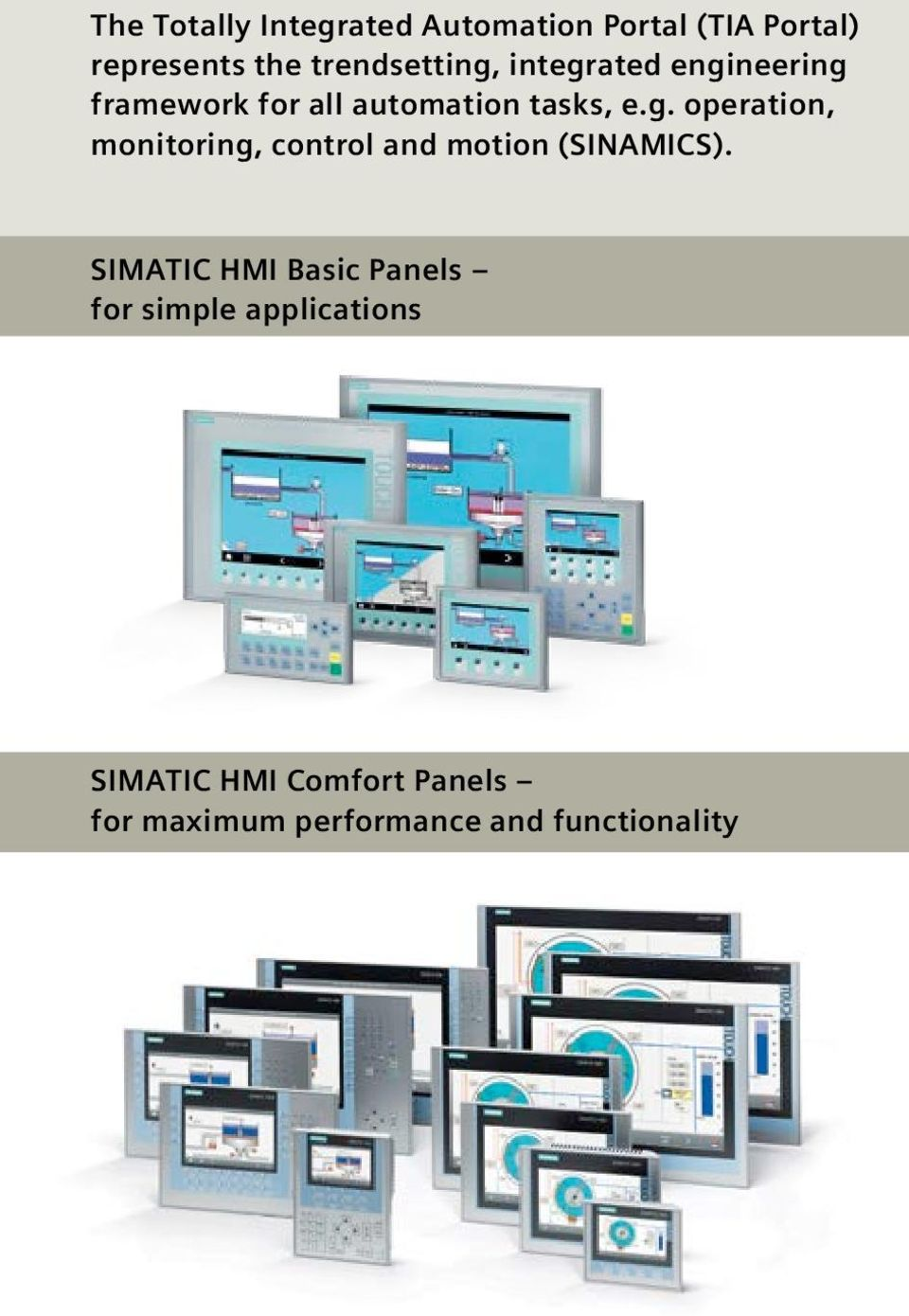 SIMATIC HMI Basic Panels for simple applications SIMATIC HMI Comfort Panels for