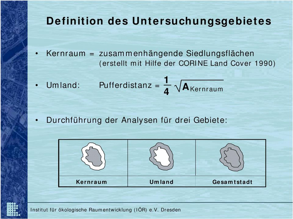 CORINE Land Cover 1990) Umland: Pufferdistanz = 1 4 A