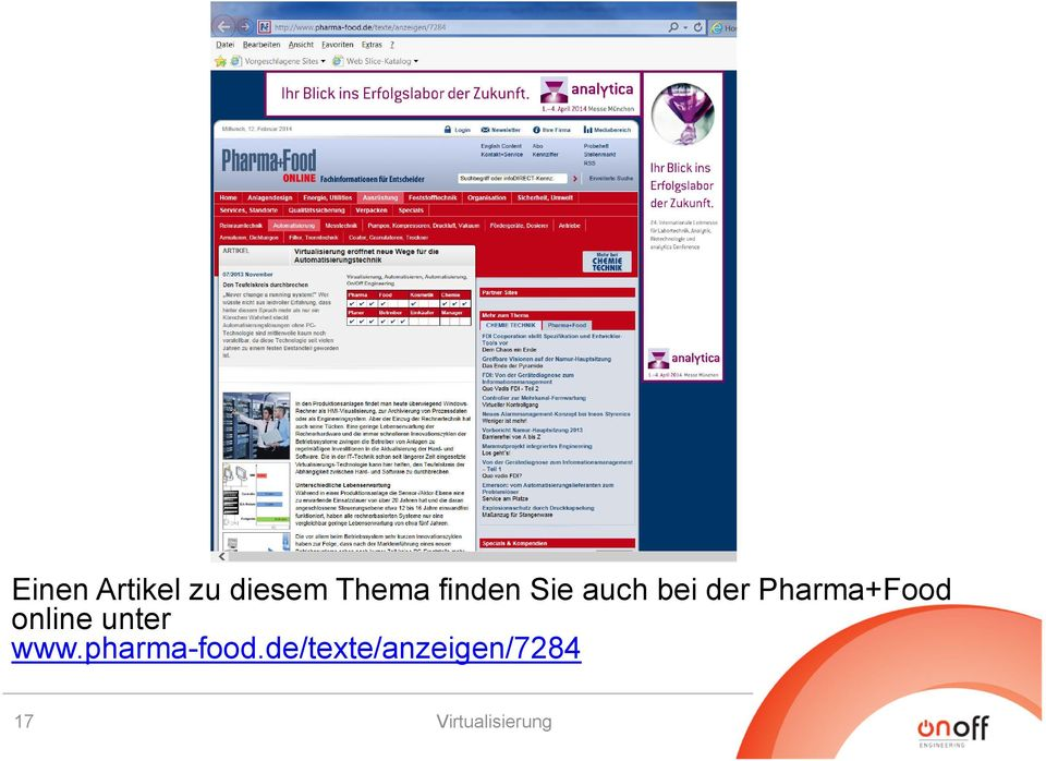 Pharma+Food online unter www.