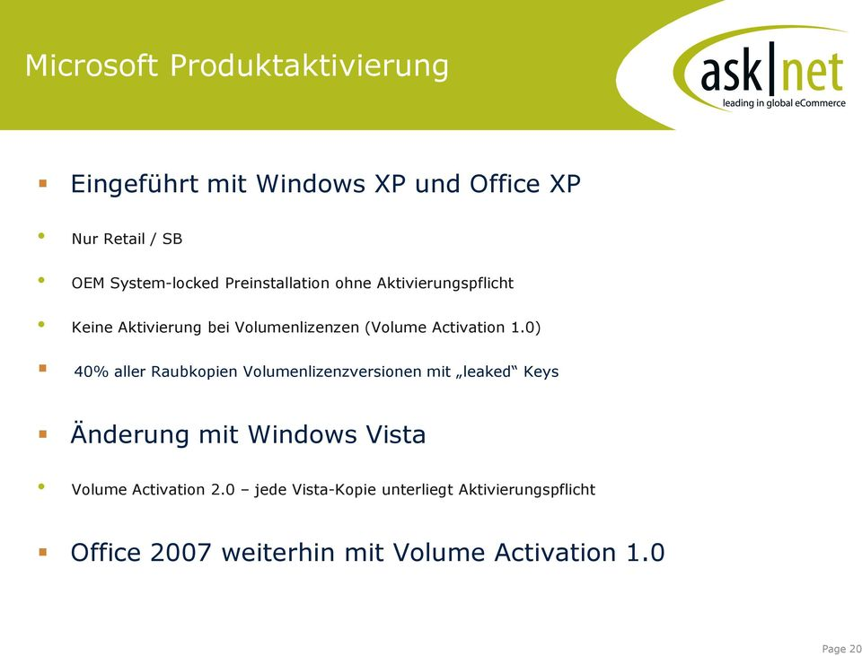 0) 40% aller Raubkopien Volumenlizenzversionen mit leaked Keys Änderung mit Windows Vista Volume