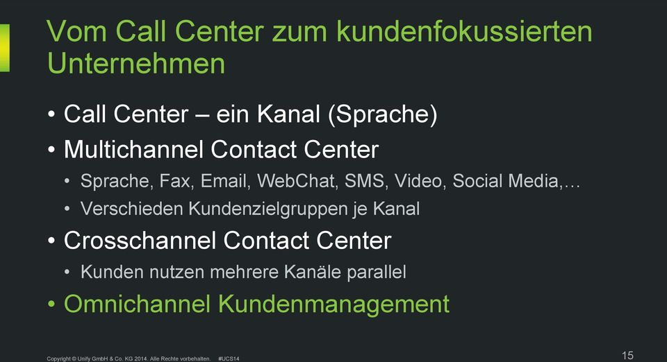 Video, Social Media, Verschieden Kundenzielgruppen je Kanal Crosschannel
