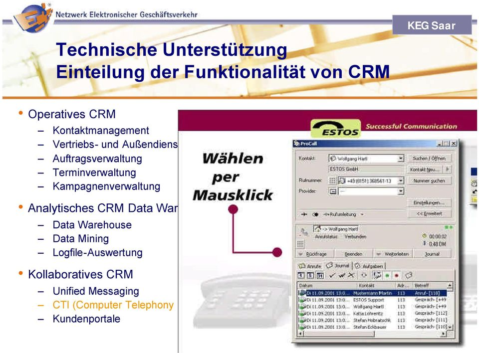 Warehouse Data Mining Logfile-Auswertung Kollaboratives CRM Unified Messaging CTI (Computer Telephony Integration)