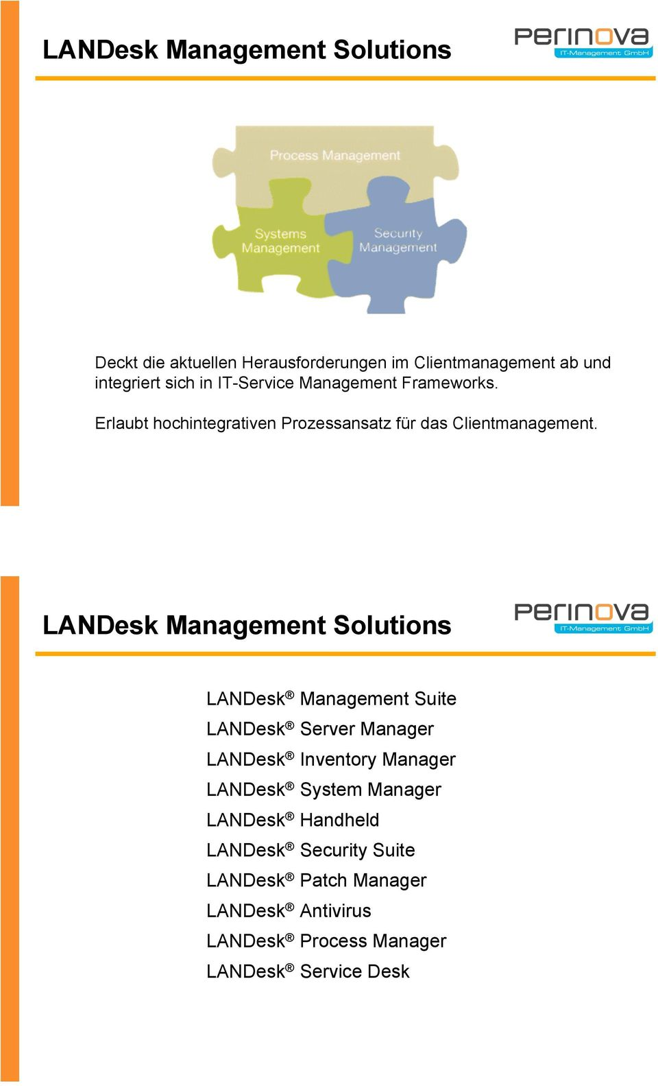 LANDesk Management Solutions LANDesk Management Suite LANDesk Server Manager LANDesk Inventory Manager LANDesk