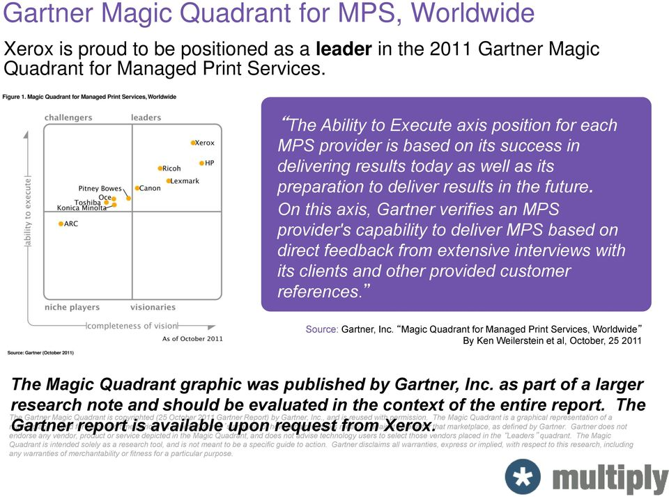 On this axis, Gartner verifies an MPS provider's capability to deliver MPS based on direct feedback from extensive interviews with its clients and other provided customer references.