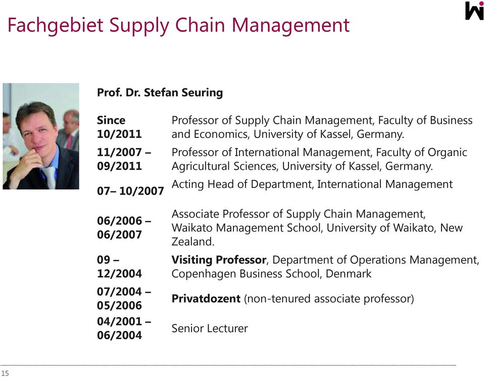 and Economics, University of Kassel, Germany. Professor of International Management, Faculty of Organic Agricultural Sciences, University of Kassel, Germany.