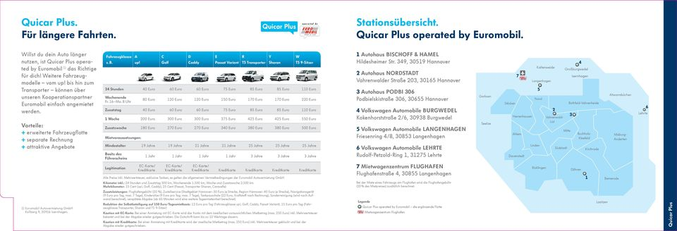 Quicar Plus operated by Euromobil. Fahrzeugklasse A C D E z. B. Golf Caddy Passat Variant T5 Transporter Sharan up!