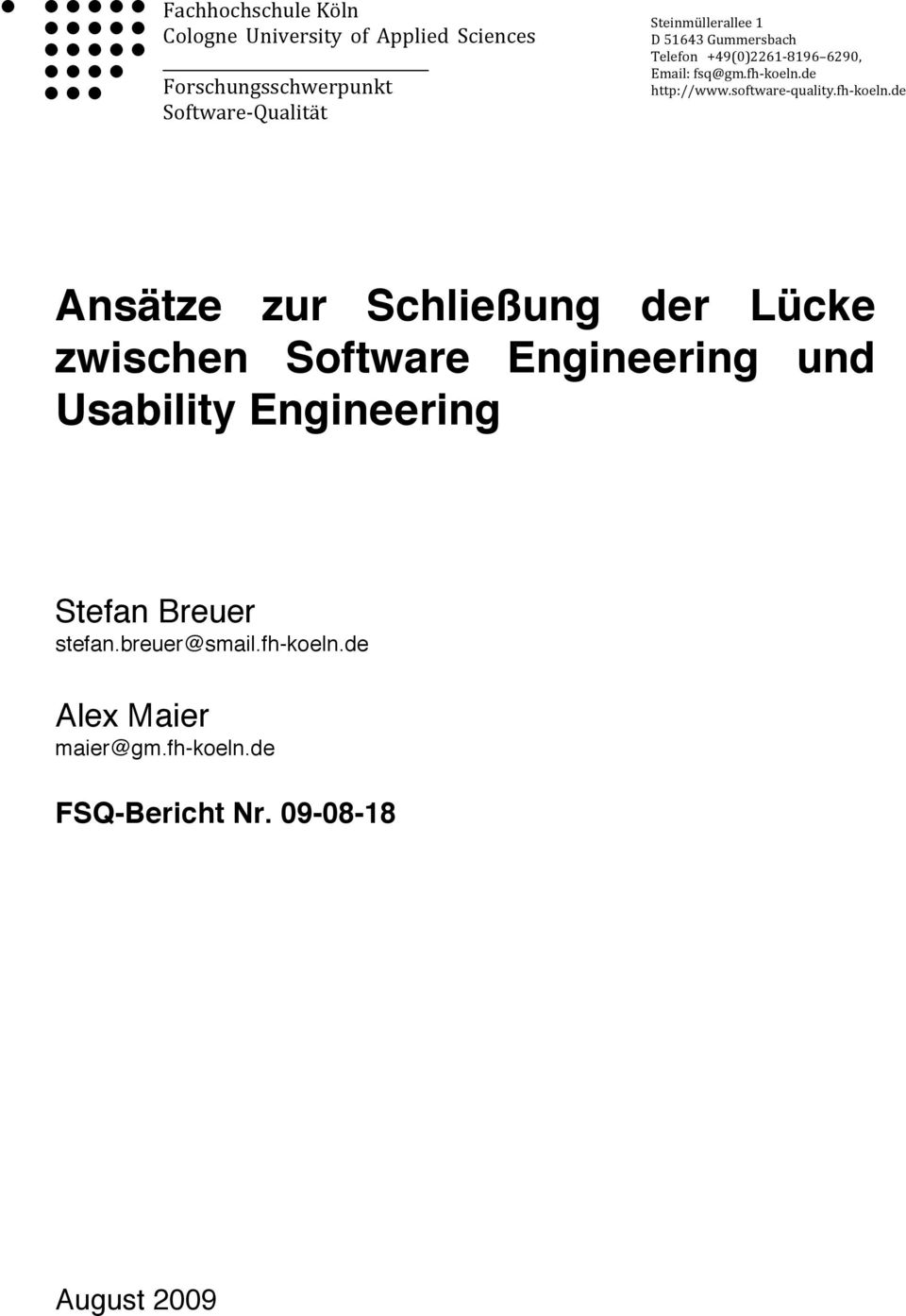 software quality.fh koeln.