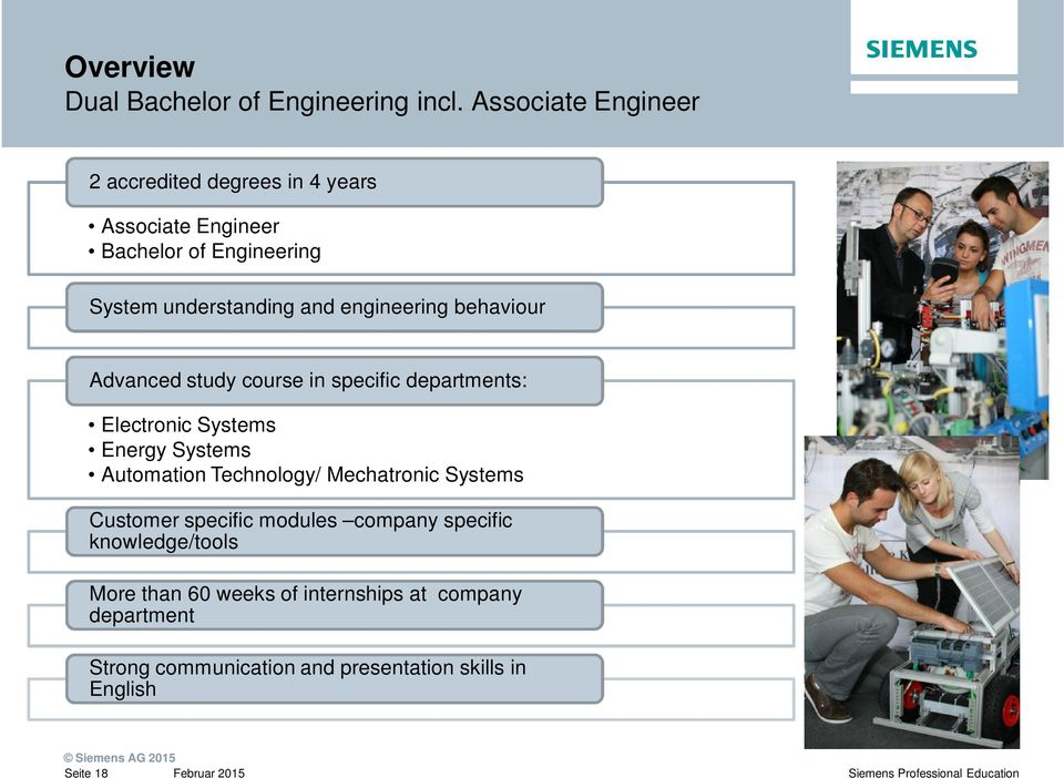 engineering behaviour Advanced study course in specific departments: Electronic Systems Energy Systems Automation Technology/