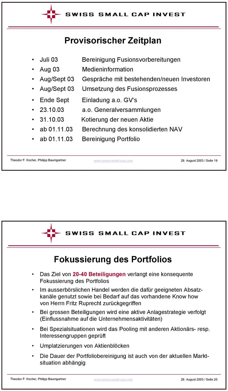 Kocher, Philipp Baumgartner www.swiss-small-cap.com 29.