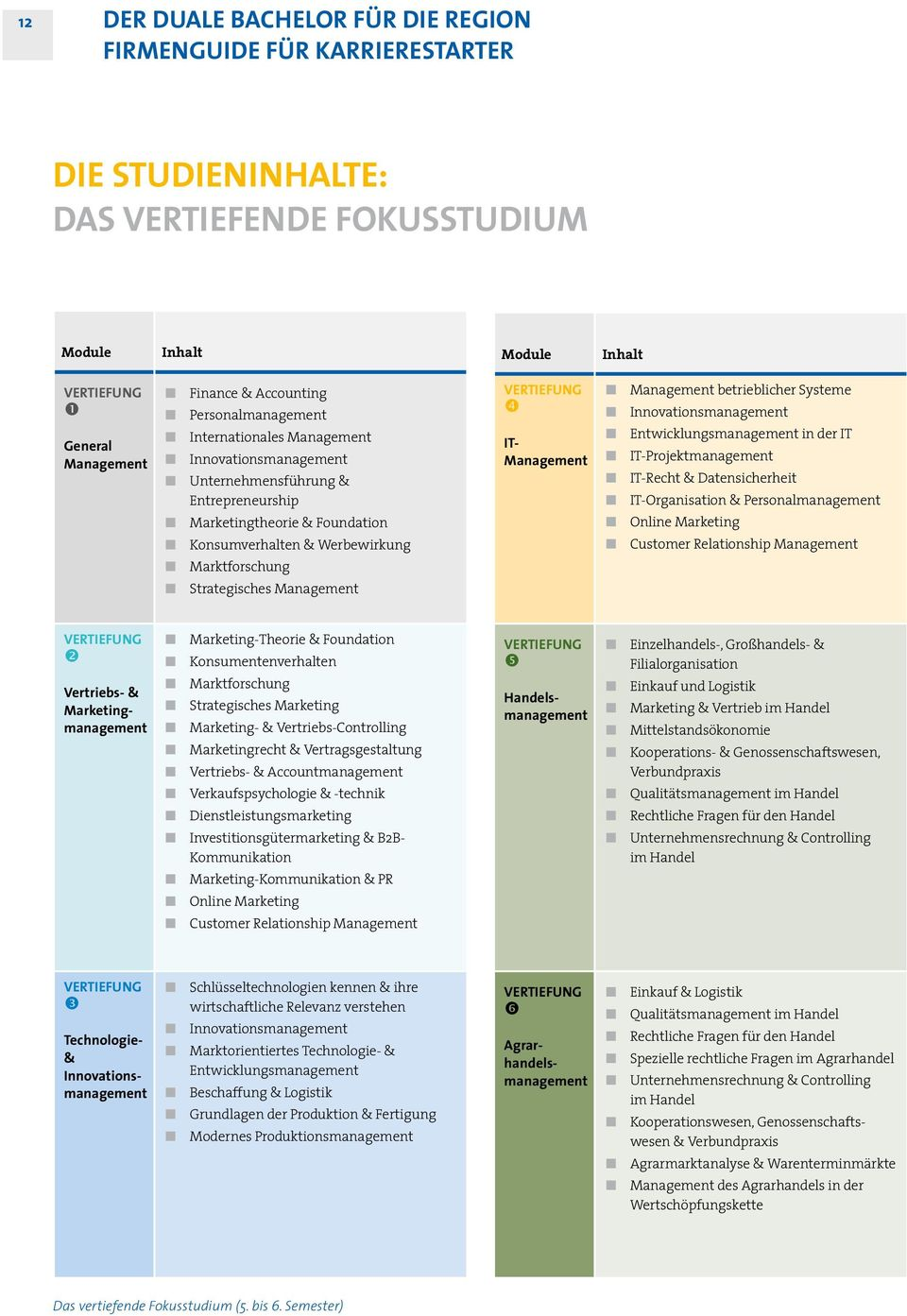 Management betrieblicher Systeme Innovationsmanagement Entwicklungsmanagement in der IT IT-Projektmanagement IT-Recht & Datensicherheit IT-Organisation & Personal management Online Marketing Customer