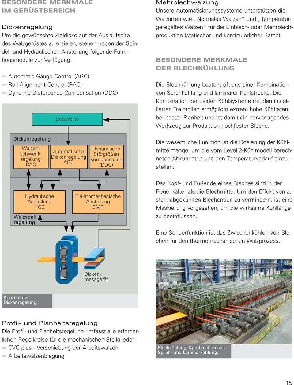 Automatic Gauge Control (AGC) Roll Alignment Control (RAC) Dynamic Disturbance Compensation (DDC) Dickenregelung Walzenschwenkregelung RAC Setzwerte Automatische Dickenregelung AGC Dynamische