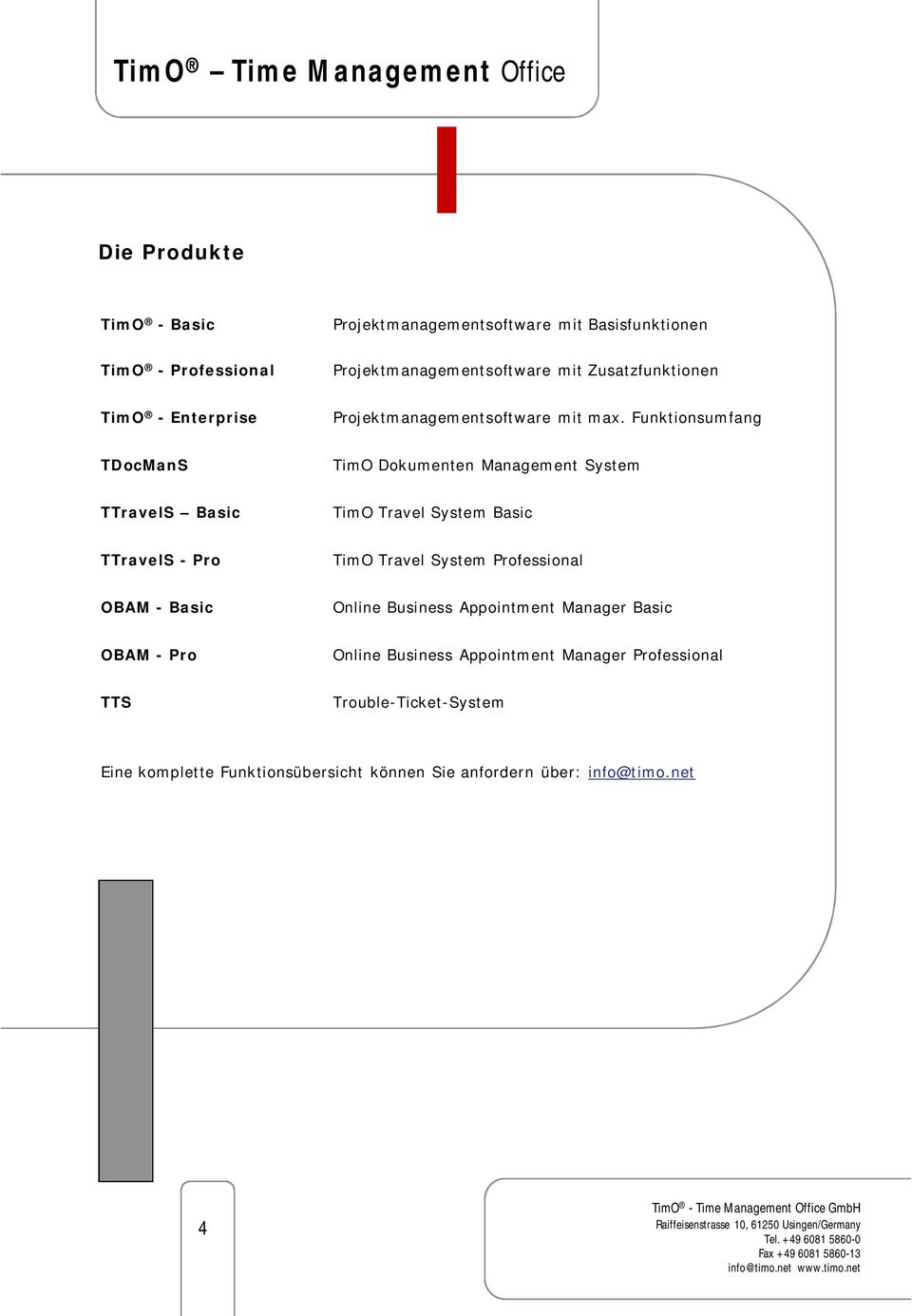 Funktionsumfang TDocManS TimO Dokumenten Management System TTravelS Basic TimO Travel System Basic TTravelS - Pro TimO Travel System