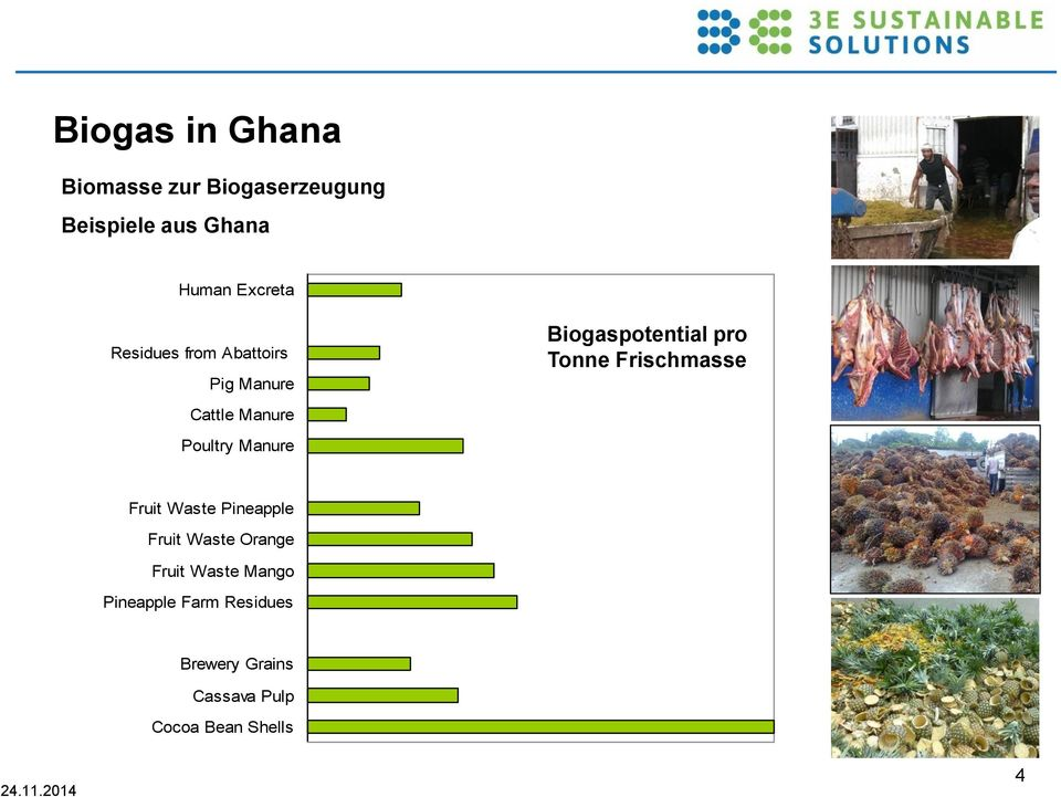 Biogaspotential pro Tonne Frischmasse Fruit Waste Pineapple Fruit Waste