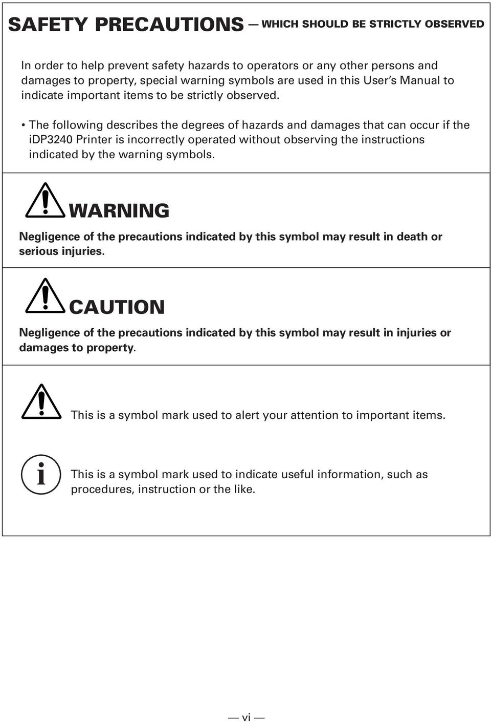 The following describes the degrees of hazards and damages that can occur if the idp3240 Printer is incorrectly operated without observing the instructions indicated by the warning symbols.
