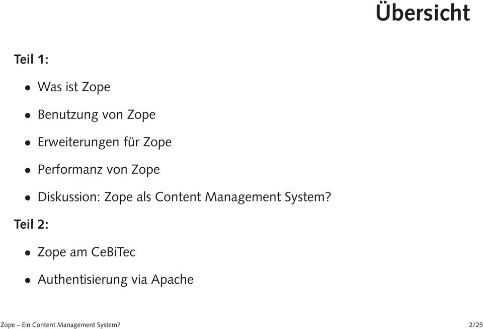 Zope als Content Management System?