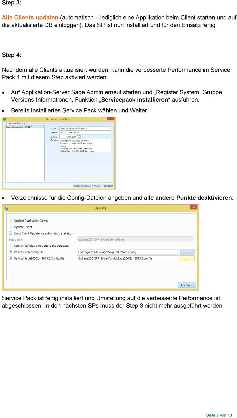 Register System, Gruppe Versions-Informationen, Funktion Servicepack installieren ausführen.