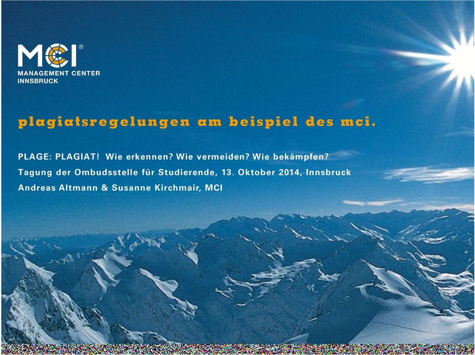 Oktober 2014, Innsbruck Andreas Altmann & Susanne Kirchmair, MCI MCI Management Center