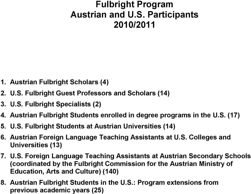 Austrian Foreign Language Teaching Assistants at U.S.