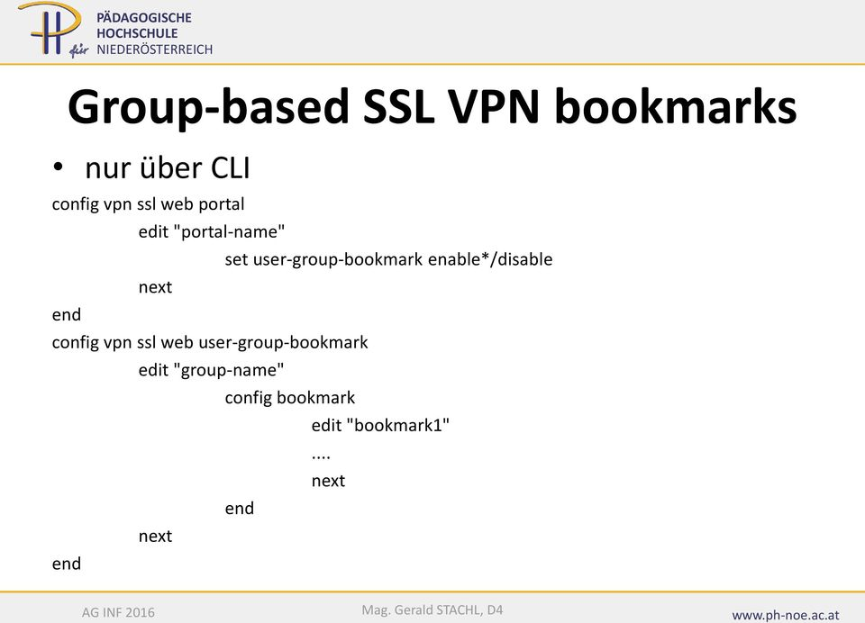 enable*/disable next end config vpn ssl web user-group-bookmark