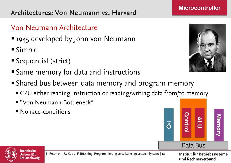 Same memory for data and instructions Shared bus between data memory and program memory CPU either reading