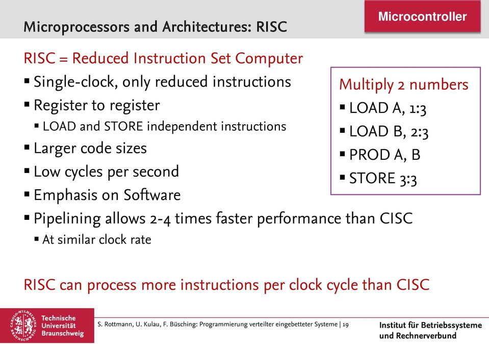 allows 2-4 times faster performance than CISC At similar clock rate Multiply 2 numbers LOAD A, 1:3 LOAD B, 2:3 PROD A, B STORE 3:3 RISC
