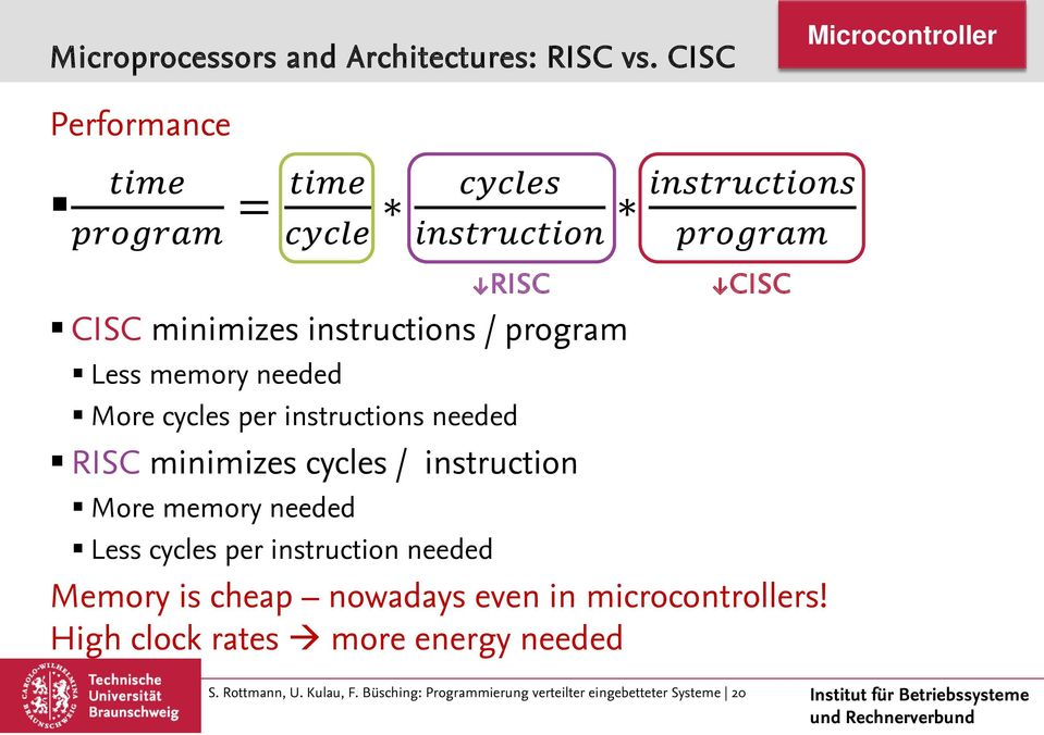 cycles per instructions needed RISC minimizes cycles / instruction More memory needed Less cycles per instruction needed cccccccccccc