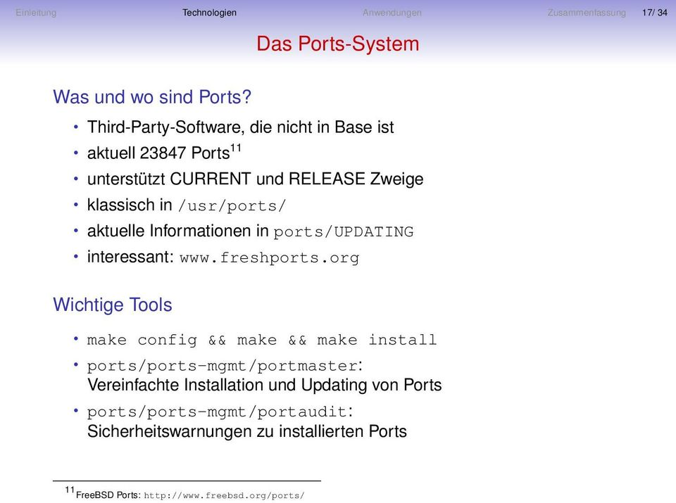 aktuelle Informationen in ports/updating interessant: www.freshports.