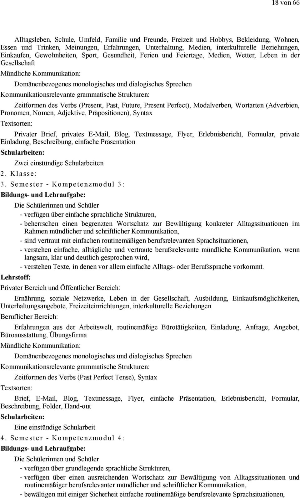 Kommunikationsrelevante grammatische Strukturen: Zeitformen des Verbs (Present, Past, Future, Present Perfect), Modalverben, Wortarten (Adverbien, Pronomen, Nomen, Adjektive, Präpositionen), Syntax