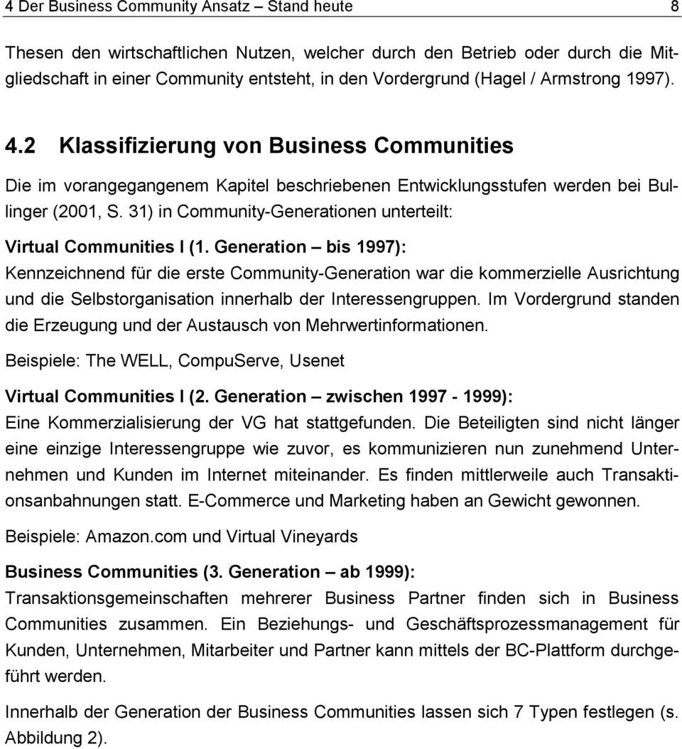31) in Community-Generationen unterteilt: Virtual Communities I (1.