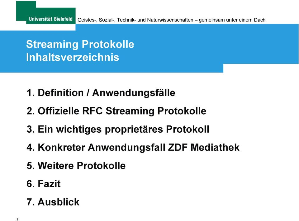 Offizielle RFC Streaming Protokolle 3.