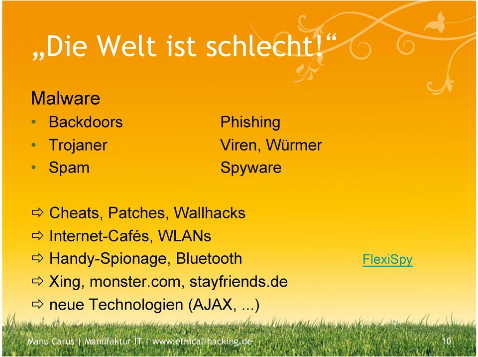 Patches, Wallhacks ð Internet-Cafés, WLANs ð Handy-Spionage, Bluetooth