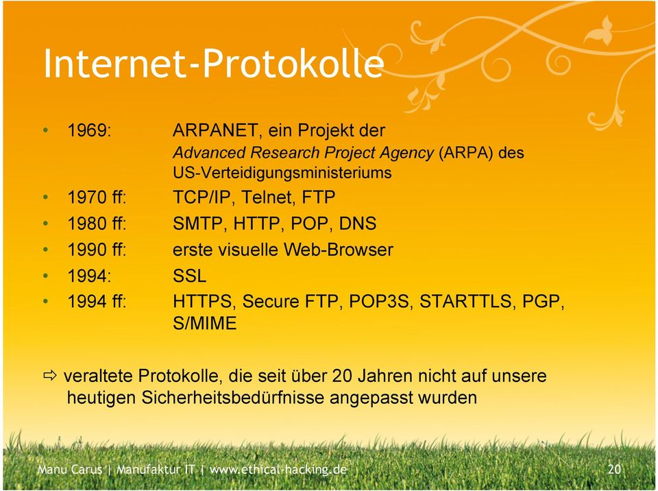 Web-Browser 1994: SSL 1994 ff: HTTPS, Secure FTP, POP3S, STARTTLS, PGP, S/MIME ð veraltete Protokolle, die seit