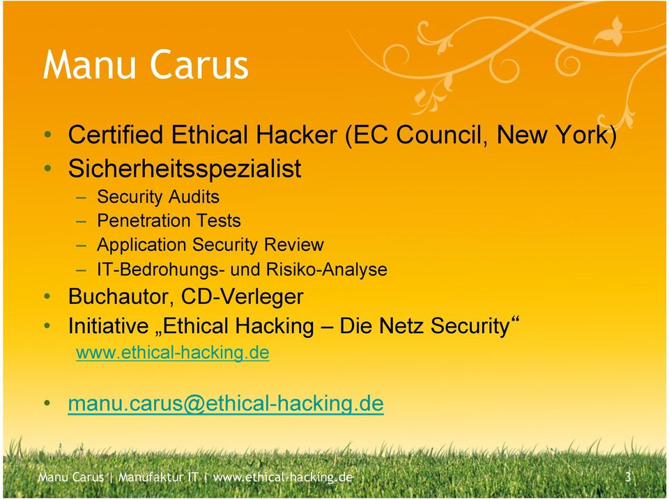 Risiko-Analyse Buchautor, CD-Verleger Initiative Ethical Hacking Die Netz Security www.