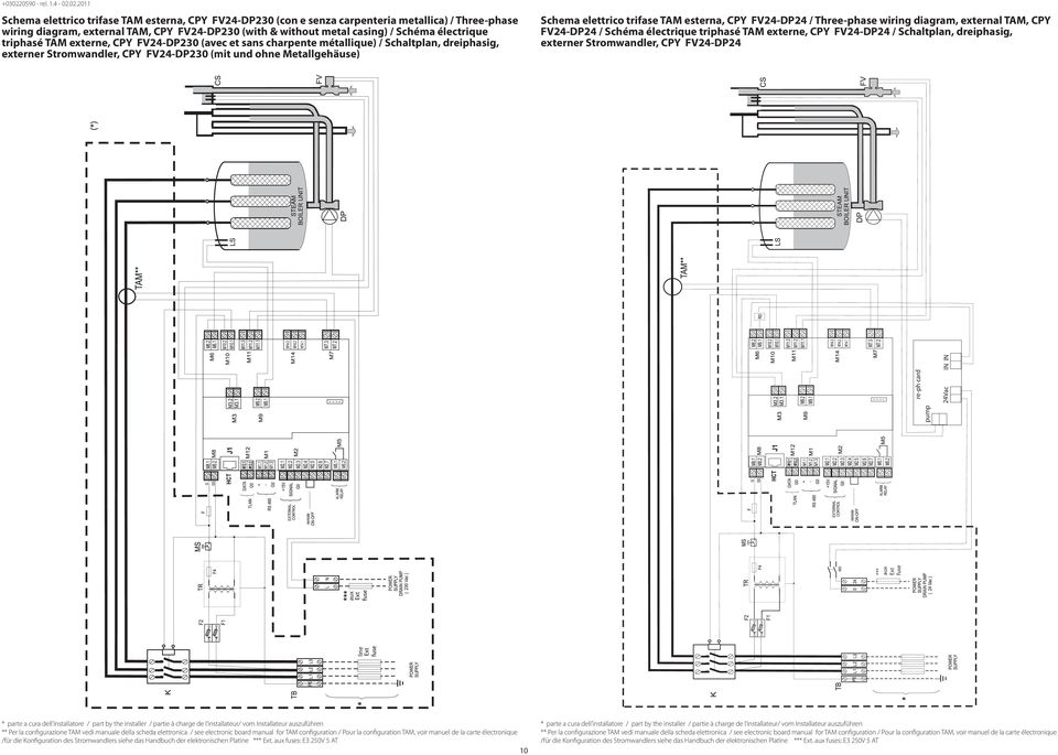 esterna, CPY FV24-DP24 / Three-phase wiring diagram, external TAM, CPY FV24-DP24 / Schéma électrique triphasé TAM externe, CPY FV24-DP24 / Schaltplan, dreiphasig, externer Stromwandler, CPY FV24-DP24