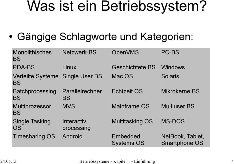 Verteilte Systeme BS Batchprocessing BS Multiprozessor BS Single Tasking OS Timesharing OS Single User BS Mac