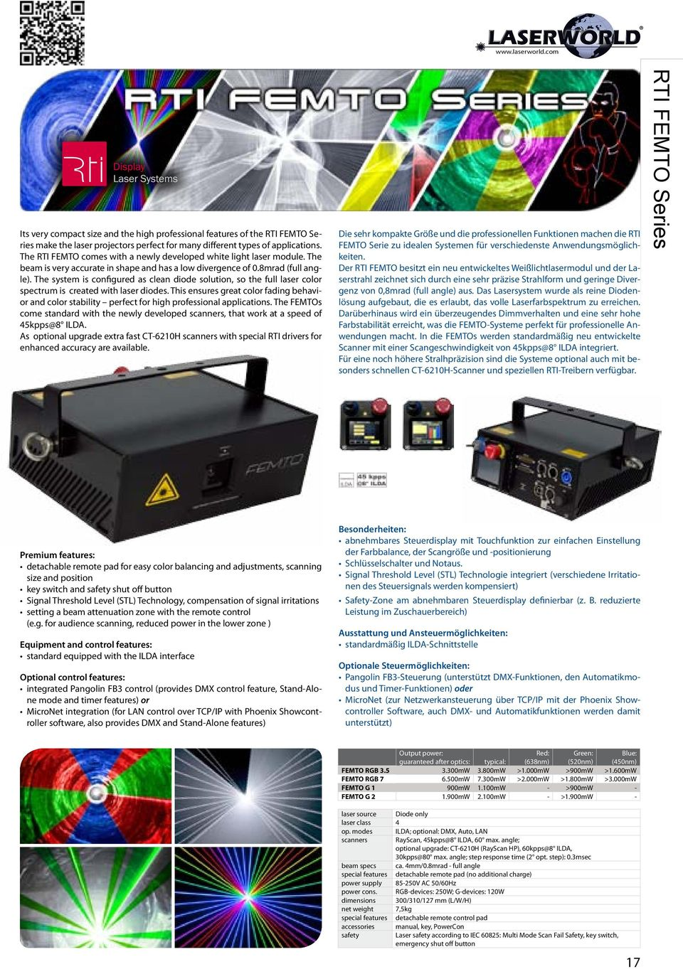 The system is configured as clean diode solution, so the full laser color spectrum is created with laser diodes.