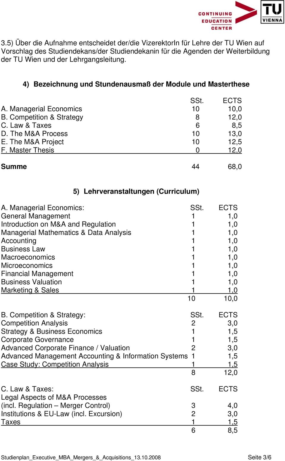 The M&A Project 10 12,5 F. Master Thesis 0 12,0 Summe 44 68,0 5) Lehrveranstaltungen (Curriculum) A. Managerial Economics: SSt.
