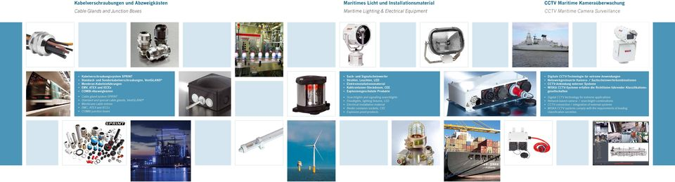 Standard and special cable glands, VentGLAND Membrane cable entries EMC, ATEX and IECEx COMBI junction boxes Such- und Signalscheinwerfer Strahler, Leuchten, LED Elektroinstallationsmaterial