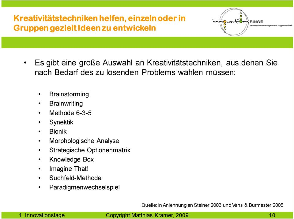 Methode 6-3-5 Synektik Bionik Morphologische Analyse Strategische Optionenmatrix Knowledge Box Imagine That!