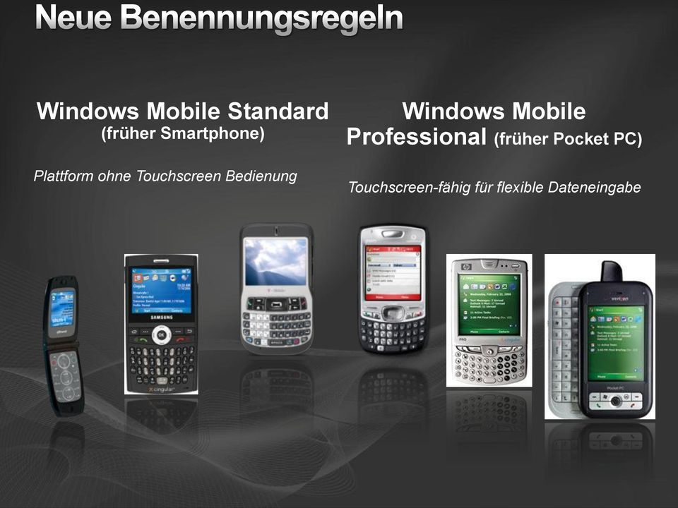 Bedienung Windows Mobile Professional