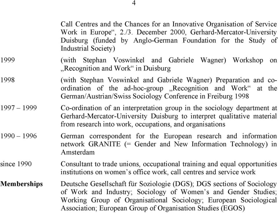 and Work in Duisburg 1998 (with Stephan Voswinkel and Gabriele Wagner) Preparation and coordination of the ad-hoc-group Recognition and Work at the German/Austrian/Swiss Sociology Conference in