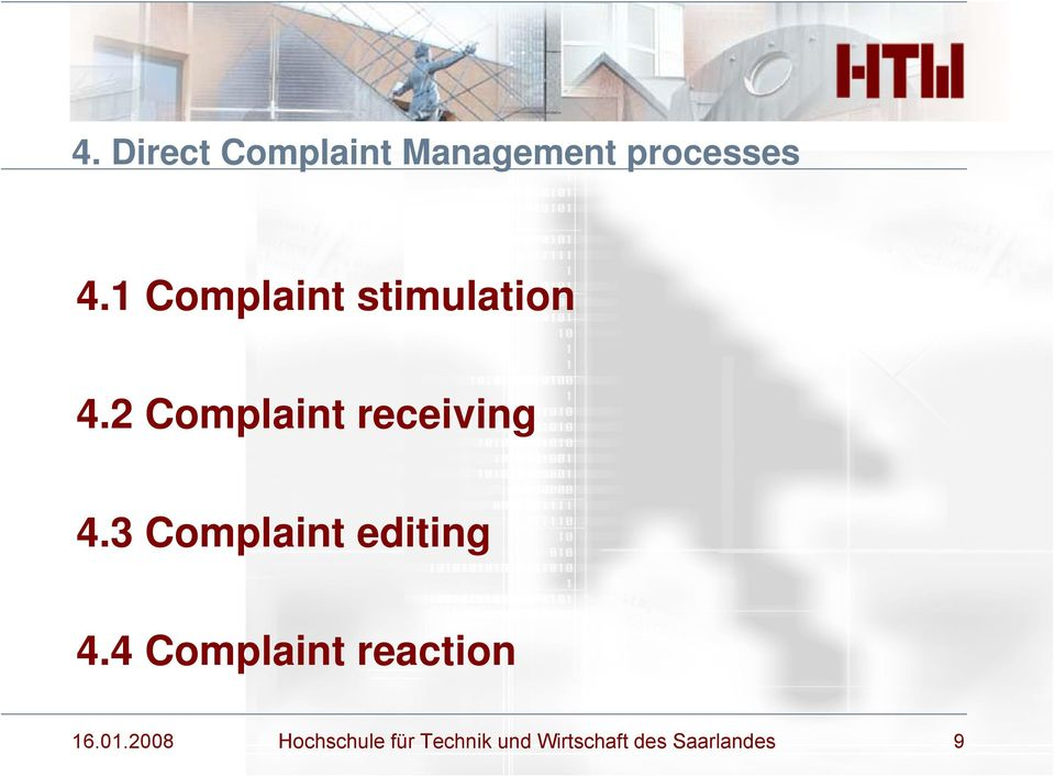 3 Complaint editing 4.4 Complaint reaction 16.01.