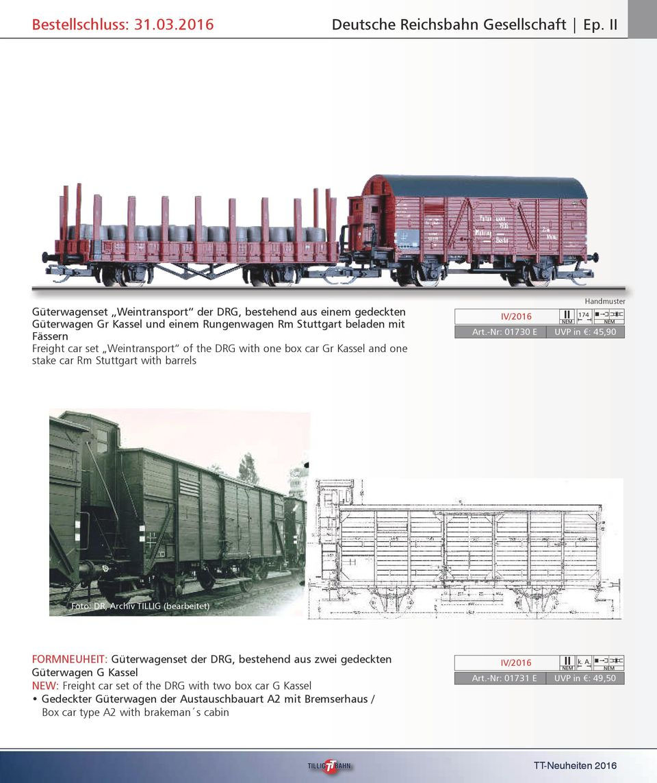 Weintransport of the DRG with one box car Gr Kassel and one stake car Rm Stuttgart with barrels 174 Art.